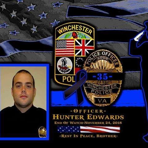 Officer Edwards badge and patch collage
